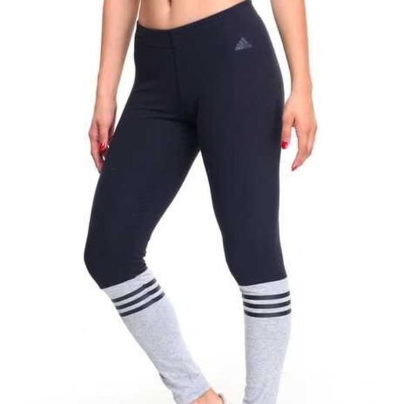 94924a604a16d adidas Pants   Nwot 3 Stripe Crew Leggings Xs Blackgray   Poshmark